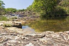 美丽的瀑布- Serra da Canastra国家公园-米纳斯Ge 免版税库存图片