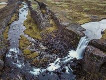 美丽的瀑布Oxarafoss在南冰岛 库存照片
