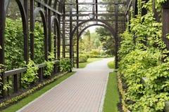 美丽的灌木、穿着考究的草坪和花围拢的一个优质木眺望台 免版税库存图片
