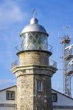 美丽的灯塔在阿斯图里亚斯在北西班牙比斯开湾 免版税库存照片