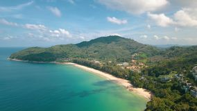 美丽的热带海岛鸟瞰图  库存图片