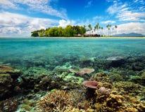 美丽的热带珊瑚岛 库存图片