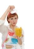 美丽的烹调意大利意大利面食妇女 库存照片