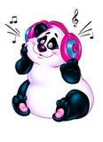 美丽的熊猫爱音乐动画片 免版税图库摄影