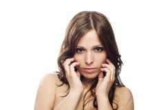 美丽的特写镜头女性模型纵向 免版税库存图片