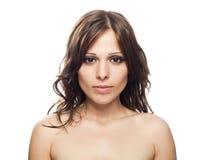 美丽的特写镜头女性模型纵向 图库摄影