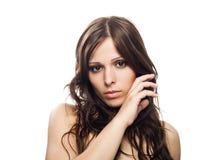 美丽的特写镜头女性模型纵向 库存照片