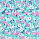 美丽的狂放的会开蓝色钟形花的草开花无缝的样式2 图库摄影