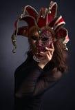 美丽的狂欢节屏蔽妇女 免版税图库摄影