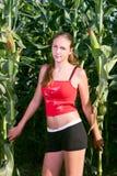 美丽的玉米田女孩 库存照片
