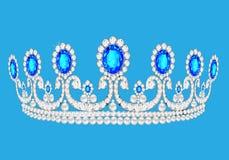美丽的王冠女性婚礼我们打开蓝色背景 库存图片