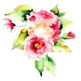 美丽的玫瑰和八仙花属花 免版税库存照片