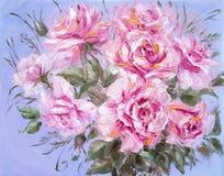 美丽的玫瑰,在帆布的油画 免版税图库摄影