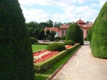 美丽的环境美化的庭院充分美丽的开花的花和装饰树和喷泉 免版税库存照片