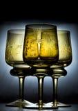 美丽的玻璃三酒 库存照片