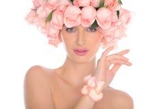 美丽的珠宝玫瑰妇女 免版税库存照片