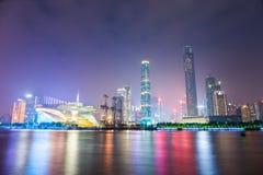 美丽的珠江在晚上在广州 免版税库存图片