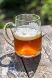 美丽的琥珀色的杯在土气木桌上的工艺啤酒在庭院里 库存图片