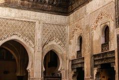 美丽的瓦片马赛克装饰的细节在菲斯, Mo 免版税库存照片