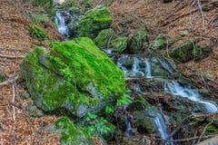 美丽的用青苔盖的瀑布和大岩石 库存照片