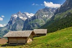 美丽的田园诗山环境美化与乡间别墅(瑞士山中的牧人小屋)在夏天 免版税库存照片