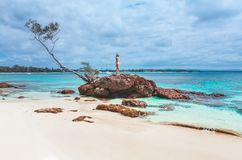 美丽的田园诗海滩 库存照片