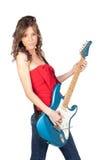 美丽的电女孩吉他 库存图片