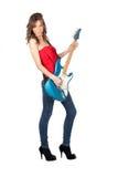 美丽的电女孩吉他 免版税库存图片