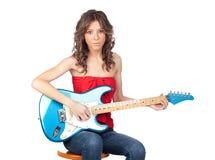 美丽的电女孩吉他 免版税图库摄影