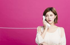 美丽的电话联系的妇女 库存照片