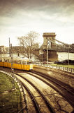 美丽的电车轨道在布达佩斯 库存图片