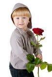 美丽的男孩红色的一点起来了 库存照片