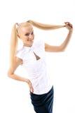 美丽的白种人女孩年轻人 免版税库存图片