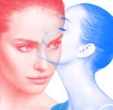 美丽的白种人妇女的双重颜色曝光作用 库存照片