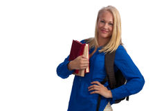美丽的白肤金发的书大学生 免版税库存图片