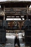美丽的白肤金发的北欧海盗在一个黑斗篷穿戴了 库存照片