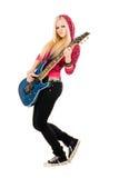 美丽的白肤金发的吉他 库存图片