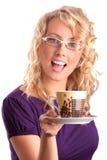 美丽的白肤金发的咖啡产生 库存图片
