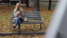 年轻美丽的白肤金发的女孩坐一条长凳在有一个电话的秋天公园在手上 股票视频