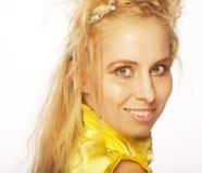 美丽的白肤金发的女孩纵向 免版税图库摄影