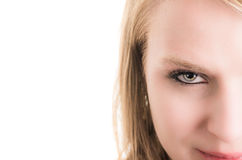 美丽的白肤金发的女孩面孔特写镜头  图库摄影