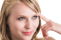 美丽的白肤金发的女孩面孔特写镜头  库存图片