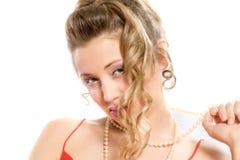 美丽的白肤金发的女孩魅力纵向 免版税库存照片