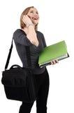 美丽的白肤金发的女实业家 免版税库存照片