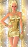 美丽的白肤金发的妇女、金礼服和钱包 免版税库存照片