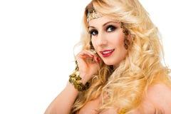美丽的白肤金发的妇女纵向 免版税库存图片