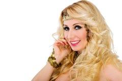 美丽的白肤金发的妇女纵向 库存图片