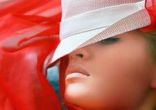 美丽的白肤金发的帽子 免版税图库摄影