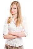 美丽的白肤金发的斟酌的年轻人 免版税图库摄影