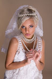 美丽的白肤金发的新娘纵向  库存图片